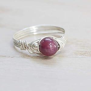Silberner Edelstein-Ring mit hell-rotem echtem Rubin und 925 Sterling-Silber | alle Größen | echte Handarbeit | auch hochwertig vergoldet oder rosé