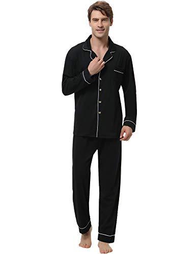 Aibrou Pyjama Hommes Coton Manche Longue Couleur Pure, Pyjama Hiver, Chemise de Nuit, Sleepwear Ensemble de Pyjama épais Chaud pour Tous Les Saisons