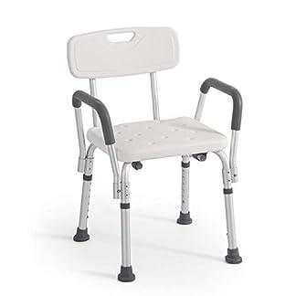Rheab – Silla de ducha o baño con respaldo y reposabrazos extraíbles, altura regulable, soporte adicional para ancianos