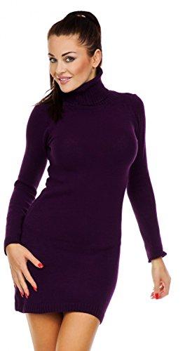 Zeta Ville - Damen Strick-kleid mit Rollkragen - Minikleid mit Stehkragen - 888z (Lila, 36/40)