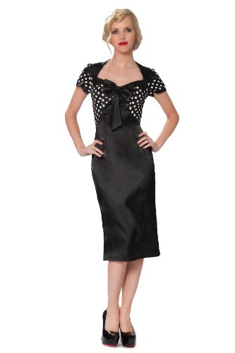 SEXYHER année 1950 crayon wiggle-party-robe à pois tissu to the top rBJ1411 - Bi-Color