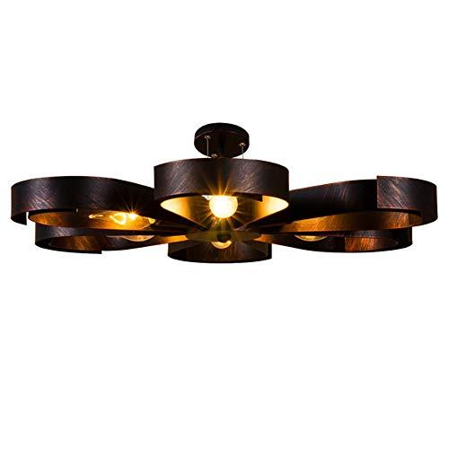 Deckenleuchte Vintage Industrie Metall Lampen Rustikal Deckenlampe Antik für Landhaus Schlafzimmer Küchen Wohnzimmer Esstisch Decken Licht Schwarz Ring Design Decken Leuchte Loft, 6 flammig L60cm -