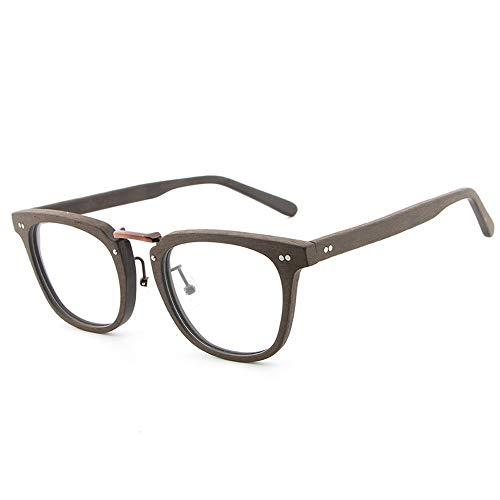 Yiph-Sunglass Sonnenbrillen Mode Frame Classic Retro Fashion Brillen Frame Plain Brillen Holzmaserung Kurzsichtige Brillen (Color : Kaffee, Size : Kostenlos)
