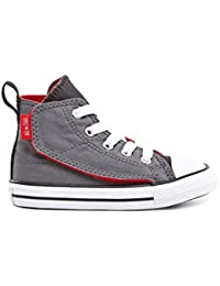 Converse Chuck Taylor All Star Zapatillas niños step simple alta gris / rojo Talla:8 US - 24 EU
