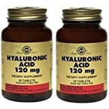 Solgar Lot de 2 flacons de 30 comprimés d'acide hyaluronique 120 mg