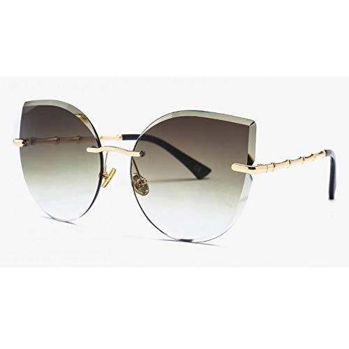 CCGKWW Mode Übergroße Rahmenlose Sonnenbrille Frauen Randlose Cat Eye Sonnenbrille Legierung Beine Kristalllinse Luxe Markendesigner Big Shades
