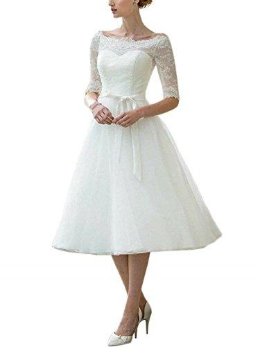 Brautkleider Hochzeitskleid Damen Kurz Empire Brautmode A Linie Spitze mit Halbarm Elfenbein EUR40