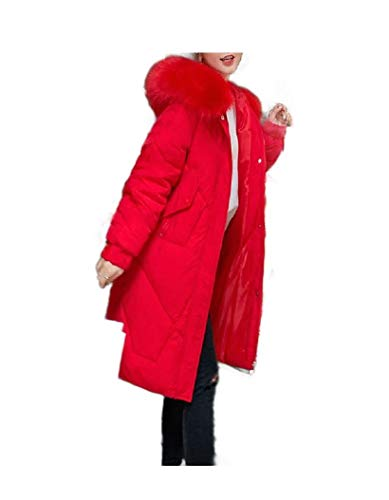 CuteRose Womens Fall Winter Fitted Down Parka Wrap Coat with Hood Red 2XL Trim Hooded Toggle