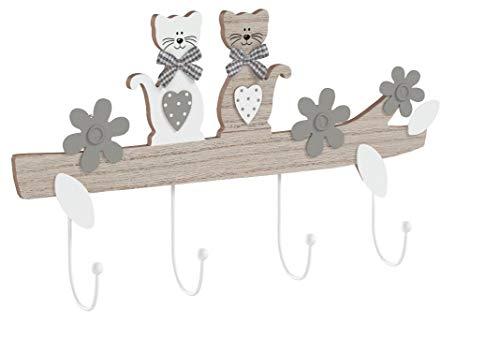 SPOTTED DOG GIFT COMPANY Katze Kleiderhaken Garderobenhaken Hakenleiste Kleiderhaken, Dekorative Wandhaken Holz im Katzendesign, 4 Haken Hausdekoration für Wand oder Tür