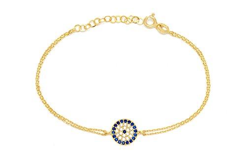 925 Sterling Silber Armband Armkette - Türkisches Auge Nazar Boncuk Evil Eye - Gold