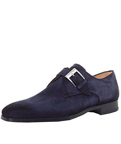 Magnanni Hommes chaussures en daim moine sangle Bleu Bleu