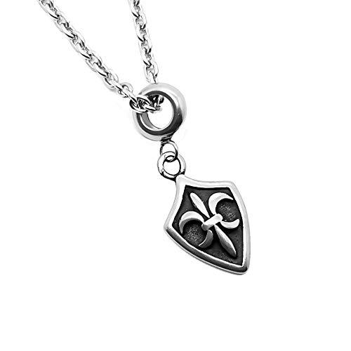 BOBIJOO Jewelry - Diskret-Anhänger-Halskette Edelstahl Templer Kreuz Pattée oder Fleur-de-LYS + Kette - Fleur-de-lis Fleur De Lis Lys