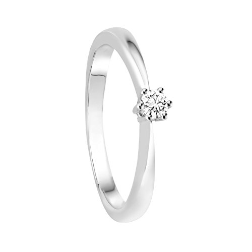 Diamond Line Damen - Ring 585er Gold 1 Diamant ca. 0,20 ct, weißgold
