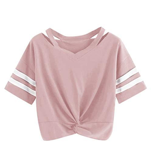 Damen Sommer T-Shirts Riemen Rundhals Streifen Tie up Kurzarm Crop Top Saum Streifen Shirt Junges Mädchen Oberteil Bluse -