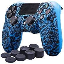 YoRHa Wasser Transfer Druck Blumen Silikon Hülle Abdeckungs Haut Kasten für Sony PS4/slim/Pro Controller x 1 (Blau) Mit Pro aufsätze thumb grips x 8 -