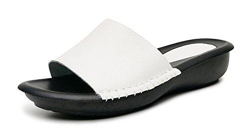 0fb0b8a4da489e Yooeen Damen Echtes Leder Pantoletten Low Wedge Offene Sandalen Bequeme  Flache Hausschuhe Slippers mit Weiche Innensohlen