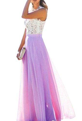 OMZIN Damen Chiffon Kleid Blumen Spitze Kleid Party Maxi Kleider für Damen Violett S