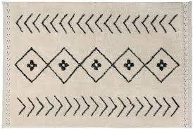 Lorena Canals Waschbarer Teppich Bereber Rhombs Natürliche Baumwolle -Schwarz- Beige- 210x140 cm - Natürliche Beige-teppich