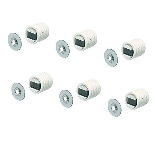 Gedotec Ferme Porte Aimant Puissant - Loquet Magnétique pour Porte de Placard, Armoire, Meuble, Tiroir - Plaque Métal et Cylindre Plastique - Foret de 12 mm - Magnet 4.5 kg - Blanc - 6 Paires