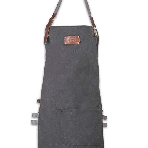 Ess-Nische Kochschürze & Küchenschürze für Männer & Damen, Grillschürze lang, schwarzes Denim in Premium Qualität