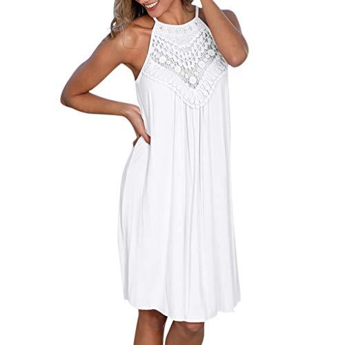 POPLY Women Bügel Kleid Frauen Neue Sleeveless Höhlen Heraus Spitze Patchwork Loses Rand Beiläufiges Dress(Weiß,XXL)