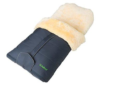 Fellhof Lammfell-Fußsack Cortina, OEKO-TEX® Standard 100 zertifiziert, 45x97 cm, wind- und wasserdicht, waschbar bis 30°C, Öffnung am Fußende (marine)