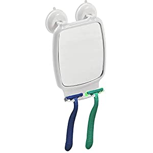TENDANCE Espejo Rectangular con ventosas PP/ABS/PVC, Blanco, 14,5 x 19 x 6 cm
