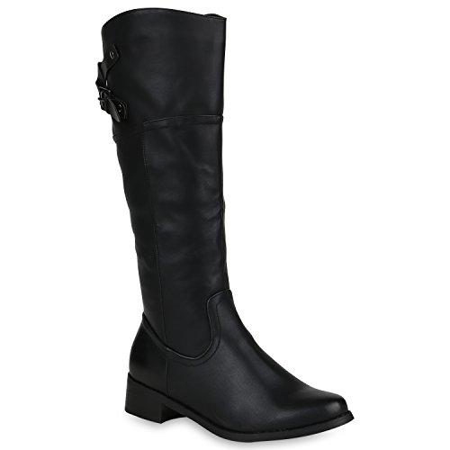 Damen Klassische Stiefel Schnallen Boots Blockabsatz Schuhe 147892 Schwarz Bexhill 38 | Flandell®