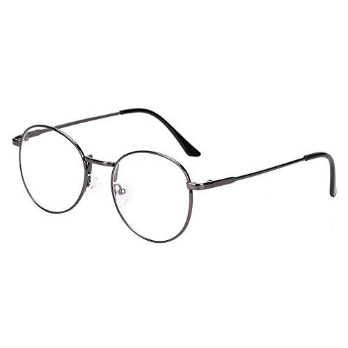 Runde Brille Metall retro schmaler rahmen unisex Nerdbrille ohne sehstärke Damen Herren Streberbrille Dekobrillen clear lens Metallgestell Brillenfassung Pantobrille für Computer PC Handy Fernseher