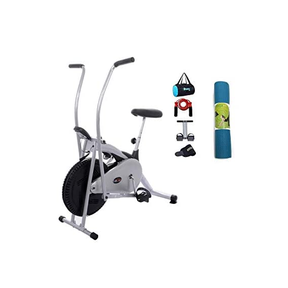 Lifeline Fitness Cycle Air Bike Deluxe for Weight Loss at Home   Bundles with Tummy Trimmer, Gym Bag, Yoga Mat (6 MM) and Accessories (5 Items)