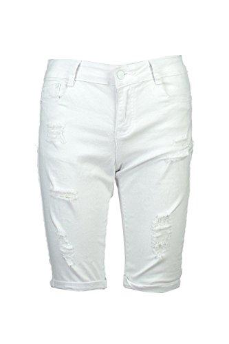 Damen Weiß Molly Zerrissene Boardshorts aus Denim in Used-Optik Weiß