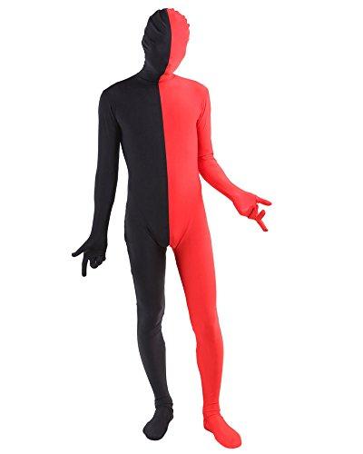 zug Ganzkörper Anzug Fasching Kostüm Rot Schwarz M (Lustige Schwarze Mann Kostüme)