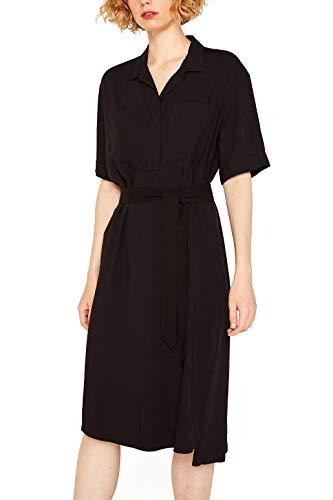 ESPRIT Mit Leinen: Hemdblusen-Kleid mit Bindegürtel
