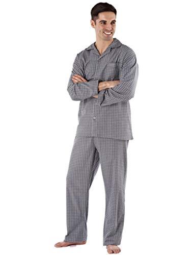 Camicia da notte da uomo, 100% cotone spazzolato, in flanella, fantasia a rombi Grey Pyjamas XX-Large