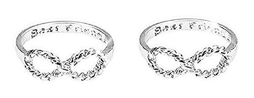 2 Game Rings with Infinity symbol with Inner Letter Best Friends - Best Friends (Silver Color)