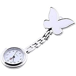 JACKY Butterfly Nurse Clip-on Fob Brooch Pendant Hanging Pocket Watch