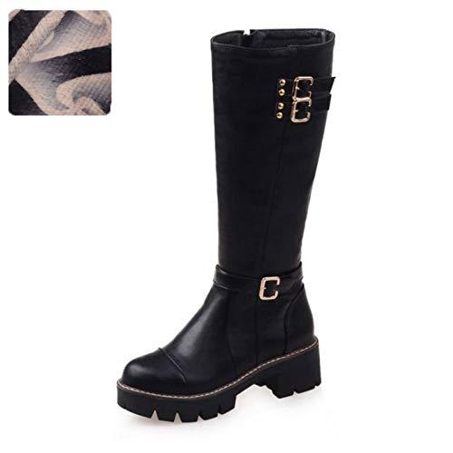 bf1d11ed71f2d HAOLIEQUAN Size 33-43 Women Knee Boots Rivet Zipper High Heel Boots Women  Shoes Cold Winter Boots Long Botas Women Shoes,Black Velvet,8
