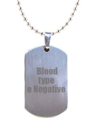 Blood type o Negative medical alert engraved Gifts UK Erkennungsmarke mit Daddy-Gravur, in Geschenkbeutel
