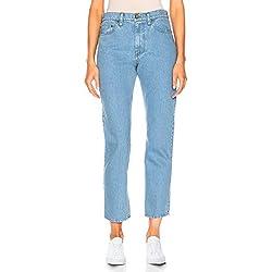 H HIAMIGOS Vintage Pantalones Vaqueros Mujer Boyfriend Mom Fit Cintura Alta Azul Claro W26/L30 ES36