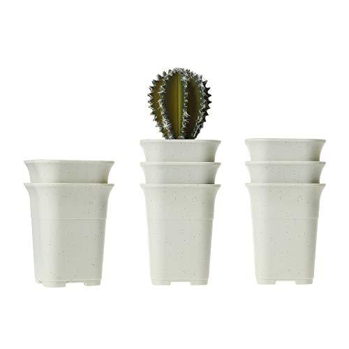 T4U 11CM Macetas Cactus de Vivero Plastico Paquete de 8, Maceteros Pequeños para Suculento Plantas...