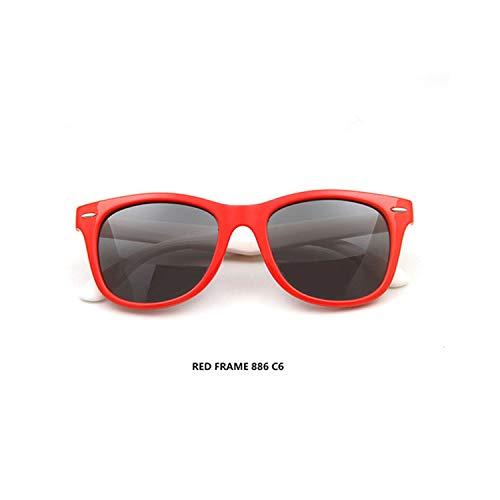 Sport-Sonnenbrillen, Vintage Sonnenbrillen, Children Polarized Sunglasses TR90 Baby Classic Fashion Eyewear Kids Sun Glasses Boy Girls Sunglasses UV400 Oculos S886 Red frame