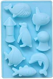 8 Hole Ocean World Dolphin Fish Penguin Shape Silicone Chocolate mold Animals Cake Mould Fondant Tools