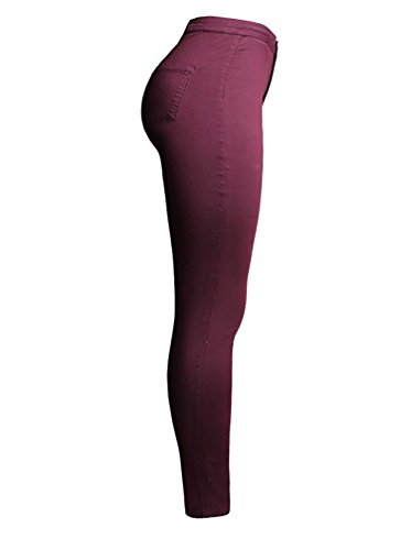 Baymate Donna Matita Pantaloni Stirata Sottili Delle Ghette Pantaloni dei Pantaloni Vino Rosso