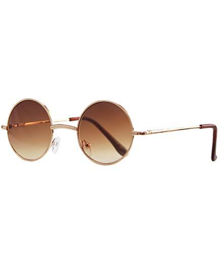 Caripe Lennon Retro Vintage Sonnenbrille Metall Damen Herren rund Nickelbrille (2060 - Gold - braun Verlauf)