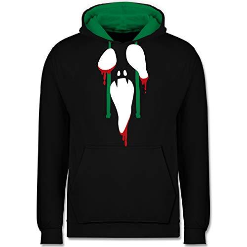 (Shirtracer Halloween - Scream Halloween - XS - Schwarz/Grün - JH003 - Kontrast Hoodie)