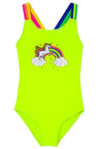 IKALI - Bañador de una Pieza para niña, diseño de Mariposa y Unicornio con Flores, protección UV...