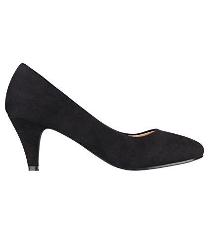 5792-BLK-6, KRISP Zapatos Tacón Salón Elegantes