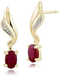 b3cc96caa1756 Gemondo Women 375 Gold 9ct Yellow Gold Oval Ruby   Diamond Swirl Drop  Earrings Red