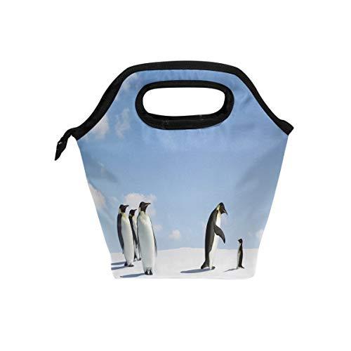 hunihuni Tier-Pinguin-/Antarktis-Thermo-Lunch-Kühltasche, auslaufsicher, Bento-Box, Handtasche, Lunchbox mit Reißverschluss für Schule, Büro, Picknick - Lunch-box Pinguin