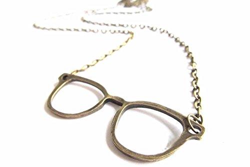 Miniblings Brille Kette Halskette 50cm Brillen Brillenkette Hipster Nerd Bronze